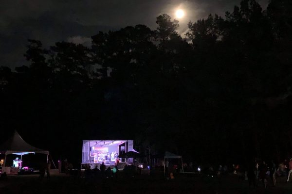 View of main stage with full moon in the sky