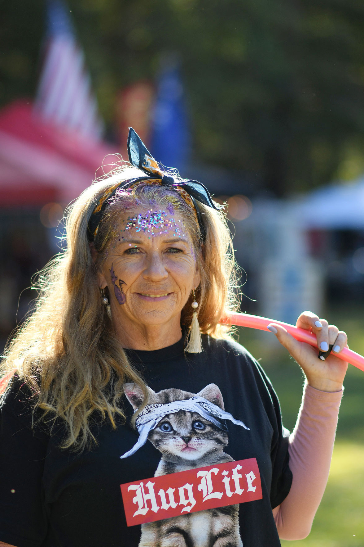 Kitcat Cunningham, owner of Hoopitude, a hula hoop company, at the Edisto Blackwater Boogie on October 11, 2019 at Givhans Ferry State Park. By Joy Bonala
